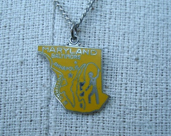 Maryland State Necklace Vintage 1980s Silver Tone Metal Charm