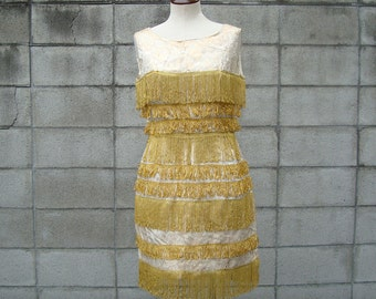 Fringe Flapper Dress 1960s Wiggle party dress