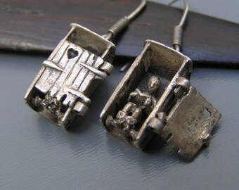 Vintage  Silver Earrings  Articulated  Charm ~ Door Opens Jewellery