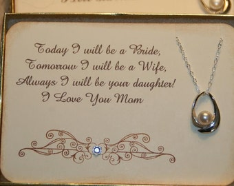 Mother of the Bride Card Pearl Necklace Gift, Gift for Mom. Thank You to Mom,  Mother of the Bride,  Personalized Mother Gift