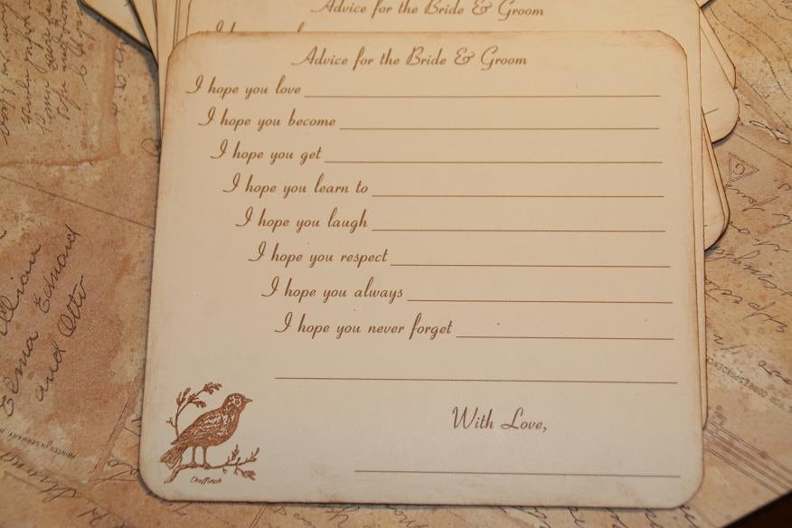 Advice For The Bride And Groom Cards Wedding Guest Book