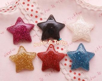 Resin Cabochon Glitter Star Cabochon 6pcs