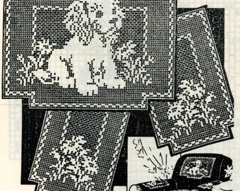 Vintage Crochet PATTERN 2538 Chair set Filet Crochet Puppy Daisys Instant PDF download 1950s