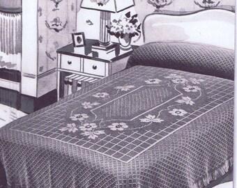 Vintage Crochet PATTERN for Bedspread 6019 Lovelace center motif and border a 1940s design Instant PDF Download