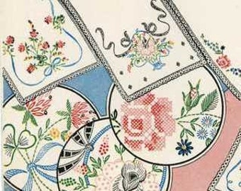 148 to go with 147 Flowers for Vanity sets Vintage Hand Embroidery pattern PDF instant Download