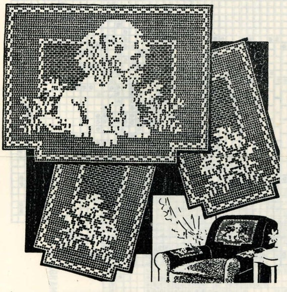 Vintage Crochet Pattern 2538 Chair Set Filet By Blondiesspot