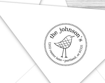 Custom Birdy return address stamp--129TS