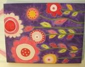 "11 x 14 ""purple bloomin time"" Original canvas painting Baby decor Children wall art Nursery Kid girl room pink orange flower daisy garden"