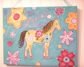 """11 x 14 """"groovy horse"""" personalized name original painting Baby decor Children wall art Nursery Kid girl room pink blue flower pony green"""