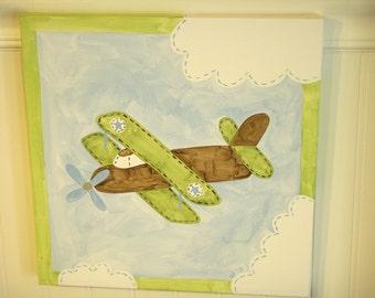 Vintage plane boys canvas painting Biplane Airplane 12 x 12 Original handmade Room decor Baby shower nursery Children wall art Kid bedroom
