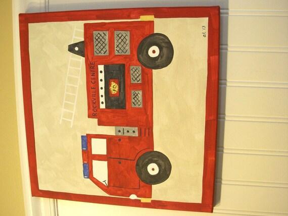 Boys Fire Truck Canvas Painting 12 X 12 Fire Engine Children