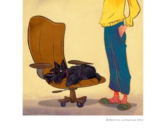 Scottie on an armchair digital print
