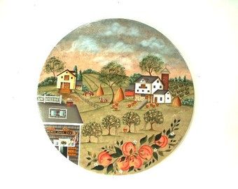 Village Peach Orchard Hand Painted Wood Plaque 445