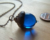 Glass Acorn Necklace in September Birthstone Sapphire Blue by Bullseyebeads