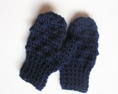 Crochet Toddler Mittens in Navy Blue Bobbles, MADE TO ORDER.