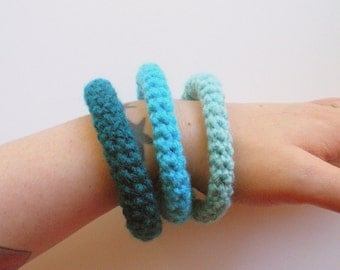 SALE Bangle Bracelets Crochet Set of Three in aqua, turquoise and teal ready to ship.