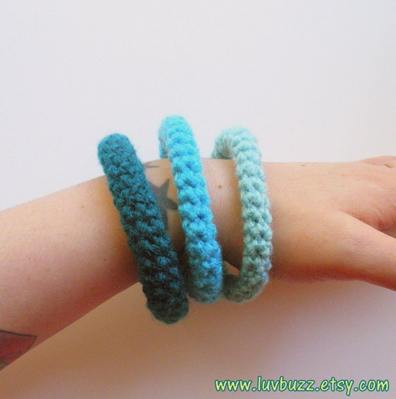 Crochet set of three in aqua turquoise and teal ready to ship