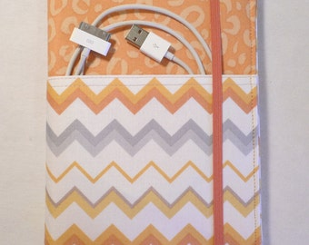 Kindle cover Hardcover, Kindle Paperwhite Cover, iPad Mini, (New Outside Pockets) Orange Chevron