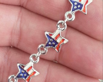 1976 Novelty USA STAR Glitter Charm Bracelet