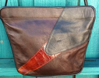 80's vintage patchwork leather bag