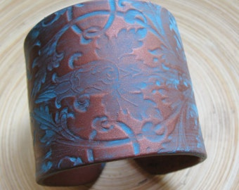 SALE Copper Cuff Bracelet, Turquoise Damask Design, Handmade Jewelry by theshagbag