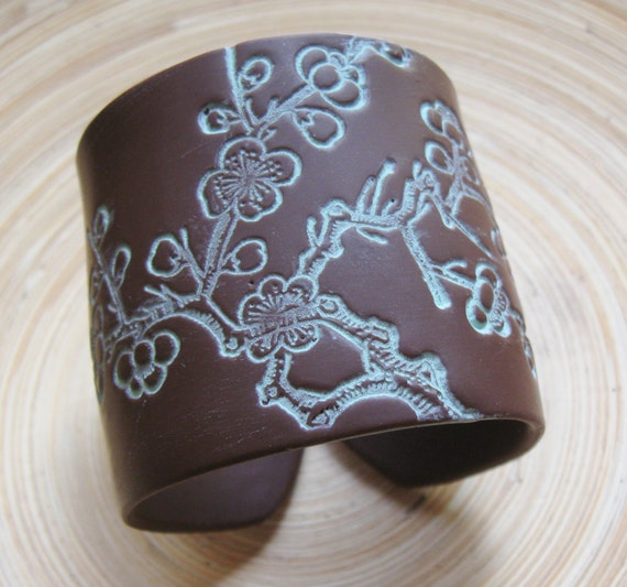 Beautiful brown cuff bracelet Asian cherry blossom, handmade jewelry by theshagbag on Etsy