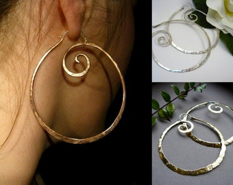 XL Pound Swirl Hoop Earrings in Copper, Bronze,Sterling Silver