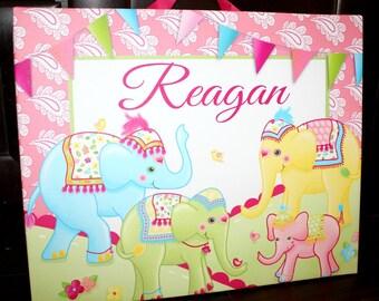 Personalized Batik Elephant Carnival Stretched Canvas Children's Bedroom Wall Art CS0024