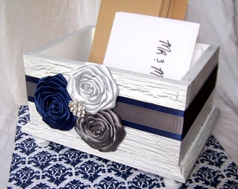 Wedding Card BOX, Rustic White Card Box, Navy Blue and Gray, Navy and Gray Wedding, Shabby Chic Box, Wooden Box, Custom colors available