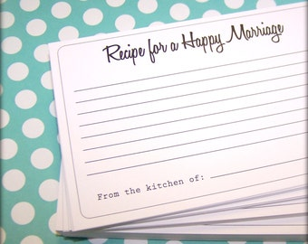 Recipe for a Happy Marriage  Cards - 50 Cards, Advice Cards, 4 x 6 Cards