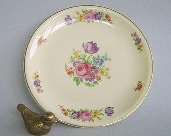 Vintage Paden City Pottery Cake Plate Platter Floral 30's