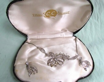 Sterling Silver  vintage Curtis Creations necklace and earrings set in original box