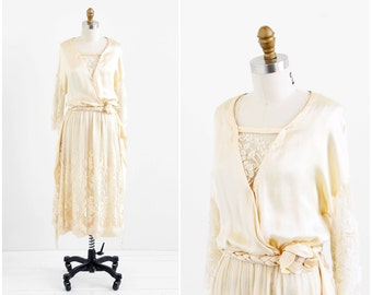 vintage 1910s wedding dress / 1920s wedding dress / Silk and Lace Downton Abbey Wedding Gown
