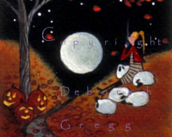 Fall Leaves By Moonlight an aceo PRINT Halloween Autumn Sheep Shepherdess Cocoa Moon by Deborah Gregg