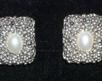 Vintage Parure Silver Tone Faux Pearl Dots Necklace Earrings Bracelet