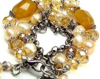 Three Strand Bracelet, Gemstones, Freswater Pearls, Antique  Silver, Wrapped Bracelet, Topaz Mauve, Fashion Bracelet