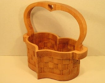 Heart Basket Large with Handle Handmade