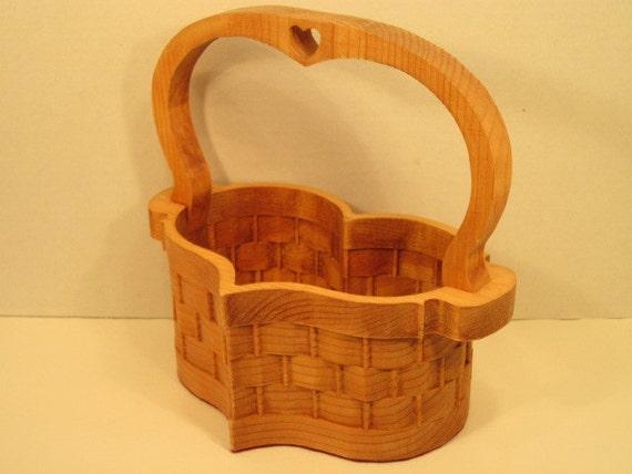 Handmade Heart Basket : Heart basket large with handle handmade