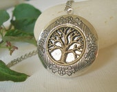 Silver Tree Locket Necklace Silver Locket Round Silver Tree Locket Personalized Jewelry Family Locket