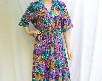 80s Tropical Floral Dress size Large Extra Large Full Skirt