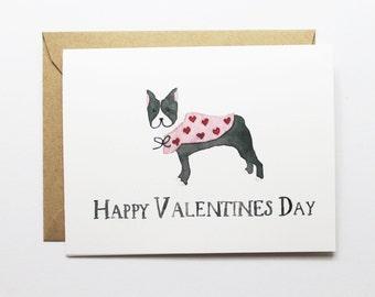 Valentine Card, Anniversary, Love Card - Valentine Boston Terrier Card