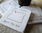Personalized Oregon State Outline Coasters - Absorbent Stone Coasters - Set of 4