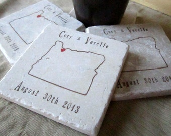 Personalized Oregon State Outline Coasters - Absorbent Stone Coasters - Anniversary and Wedding Gift