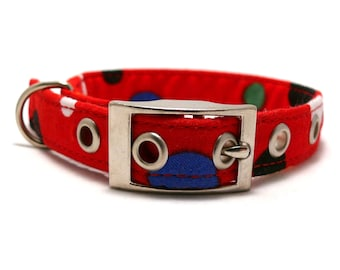 ON SALE - Red small dog collar - Red colorful spotty adjustable XS / S / puppy dog collar with metal buckle - 20% off