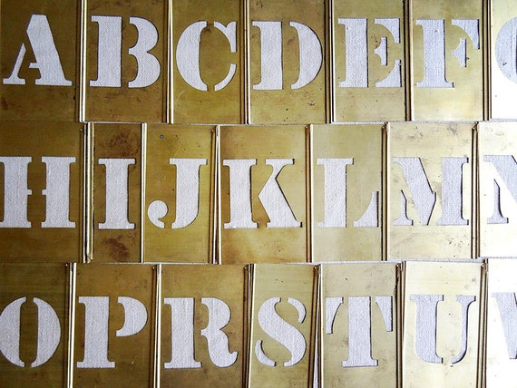 items similar to vintage brass stencil  single letter or