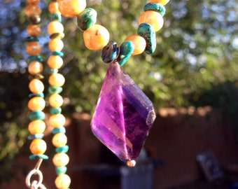 SALE! Amethyst turquoise and faceted pearl necklace