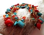 Turquoise bracelet.  Coral bracelet.  Chunky bracelet.  Gold bracelet.  Crystal bracelet.  Charm bracelet.