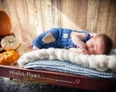 Denim Blue Baby Suspender Pants,  Dark Blue 0 to 3 Month Baby Pants Photo Prop