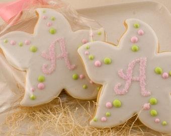 Monogrammed Starfish Cookies - 12 Decorated Sugar Cookie Favors