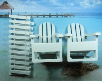 DIY Cake Topper Kit -  Beach Wedding Kit  - Adirondack Chairs and Fence - For Cakes and Centerpieces